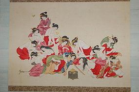 Scroll, shunga, smoking man, women, Japan Meiji era