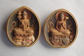 Zushi pair, Monju & Fugen Bosatsu, Tokugawa, Japan 19th