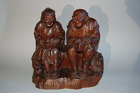 Wood sculpture, man, woman, Japan, Taisho era