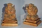 Daikoku and Ebisu, wood carvings, Toun, Japan Meiji era