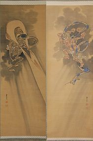 Paintings, Raiden Futen, Soseki, Japan, Meiji/Taisho