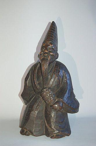 Wooden sculpture, sambaso dancer, Japan, Meiji/Taisho
