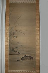 Scroll painting, fireflies at river, Bunrin, Japan Edo period