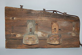 Shop sign, kanban, oar ornament, Japan Edo, 19th c