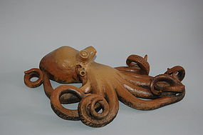 Ceramic sculpture, octopus, Japan Showa era