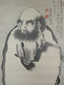 Buddhist scroll, sumie, standing Daruma, Japan Taisho era