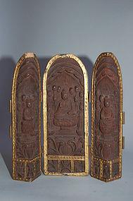 Zushi, Amida, Seishi, Kannon bosatsu, Japan Edo period