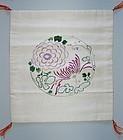 Silk hand-embroidered fukusa gift cloth, chrysanthemum, Japan 20th c.