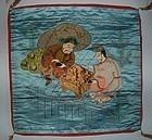 Silk fukusa cloth, embroidered, Ebisu Daikoku New Year, Japan 19th c.