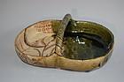 Basket shaped vessel, Oribe style, Seto, Japan 20th century