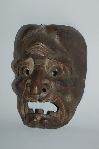 Wooden mask, old woman, Japan, Meiji era