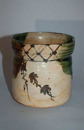 Vessel, stoneware, Oribe style, Seto Japan, Taisho era