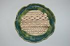 Oribe stoneware lotus leaf plate, Seto region, Japan, Meiji era