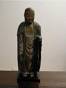 Wooden sculpture of Jizo, Japan 18th century.