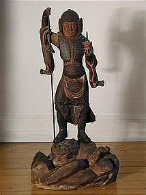 Wooden statue of Bishamonten, Japan, early Edo period