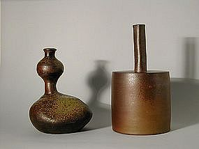 Japan, two stoneware vases, Bizen, Tozan studio