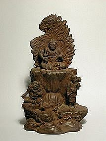 Zushi, ceramic sculpture of Fudo Myoo, Japan 19th c