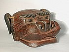 Small shishi mask, wood, Japan, Edo period/19th c.