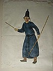 Watercolor, man with two rods, England?, 19th c.