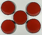 Set of lacquer plates with net decoration, Japan, 1980s