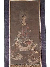 Scroll painting, descent of Amida Buddha, Japan, 18th c