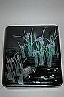 Suzuribako, heron between iris, Gazan, Japan Taisho era