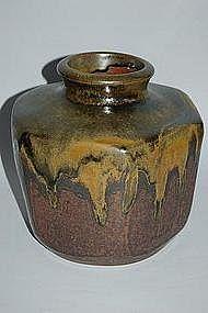 Hexagonal stoneware jar, Asakura Sansho, Edo/Meiji era