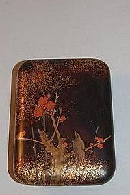 Small lacquer box, bird in plum tree, Japan, Edo period