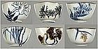 Ten cups / bowls, porcelain, Tozan, 18/19th century