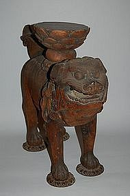 Wood sculpture, Buddhist lion, Japan, Muromachi period