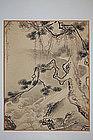 Painting of pine tree at stream, Japan, 19th century