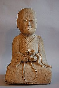 Stone figure of man sitting with cymbal, Korea, Choseon