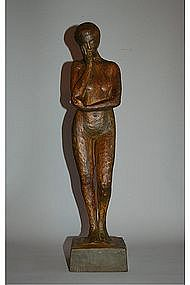 Wooden figure of standing nude woman, Japan, Showa era