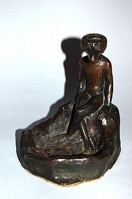 Bronze figure of kappa at basin, Japan, Taisho/Showa