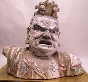 Yuan Dynasty stucco Lokapala bust