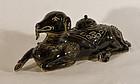 Chinese antique porcelain figural sculpted goat censor