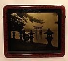 Japanese orotone photograph of Itsukushima Shrine