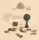 Peruvian Pre Columbian turquoise copper tweezers and stone bead lot
