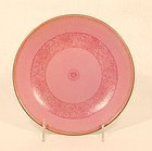 Qing Dynasty Qianlong marked Puce plate with rose floral pattern