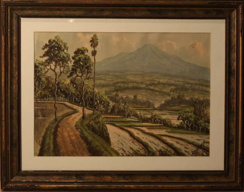 Anton Kustia Widjaja water color of rice terraces