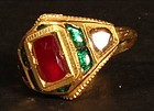 Mens Kundan Diamond Emerald and a jellybean sized ruby in 20k gold