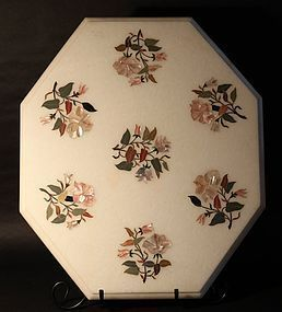 Pietra Dura white marble floral  inlaid table top