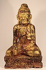 Antique Burmese Shan gilt wood Buddha