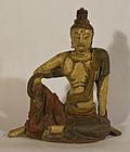 Ming- Qing Dynasty cast Iron Kwan Yin statue