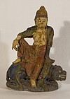 Qing Dynasty cast iron statue of Quan Yin riding her Kylin