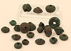 Moche Pre Columbian collection of cast copper beads