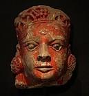16th-18th c Hindu over life size Sand stone head of Vishnu