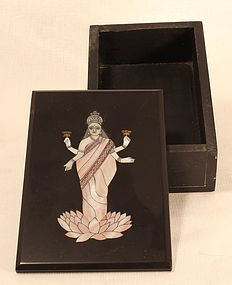 Pietra Dura slate box with mother of pearl Laxmi