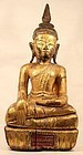 18thc Burmese Shan Temple gilded seated Buddha