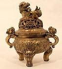Chinese cast bronze Censor with fantastic detail